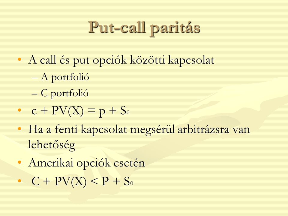put and call opciók)