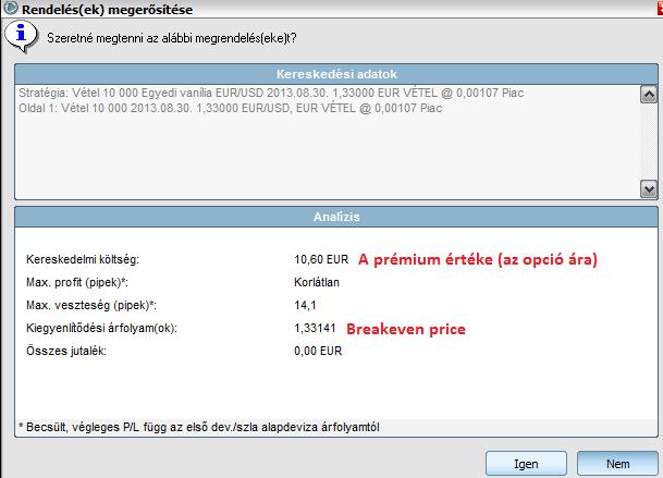 az opció ára függ)