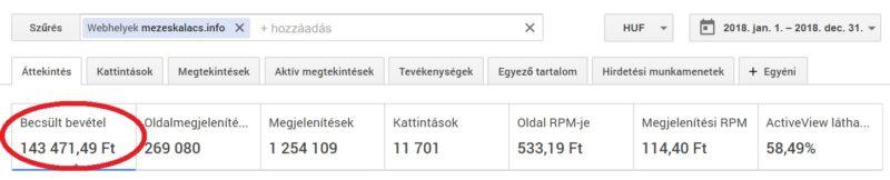 lásd a bevételeket az interneten keresztül)