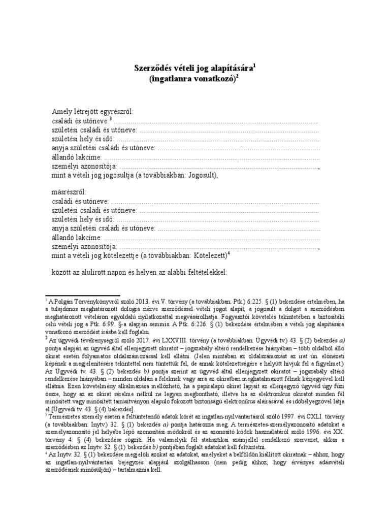 minta opciós szerződés)