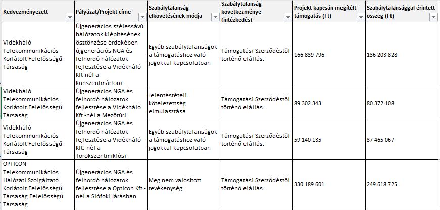 az Internet 2020 beruházási projektek értékelése)