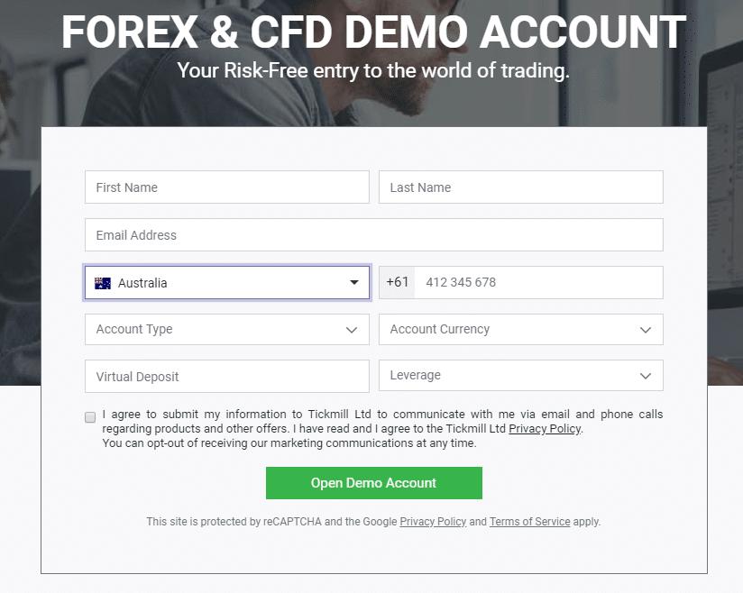 demo számla a kereskedési platformon)